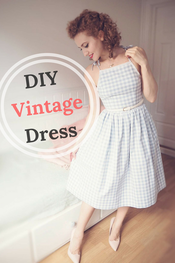 free dress sewing tutorial, DIY Vintage Dress, diy vintage gingham dress, 1950's dress, vintage summer dress, sewing vintage, vintage dress, 50's dress, #freesewingtutorial #dresssewingtutorial #vintagedress #50sdress #vintageclothes #diydress