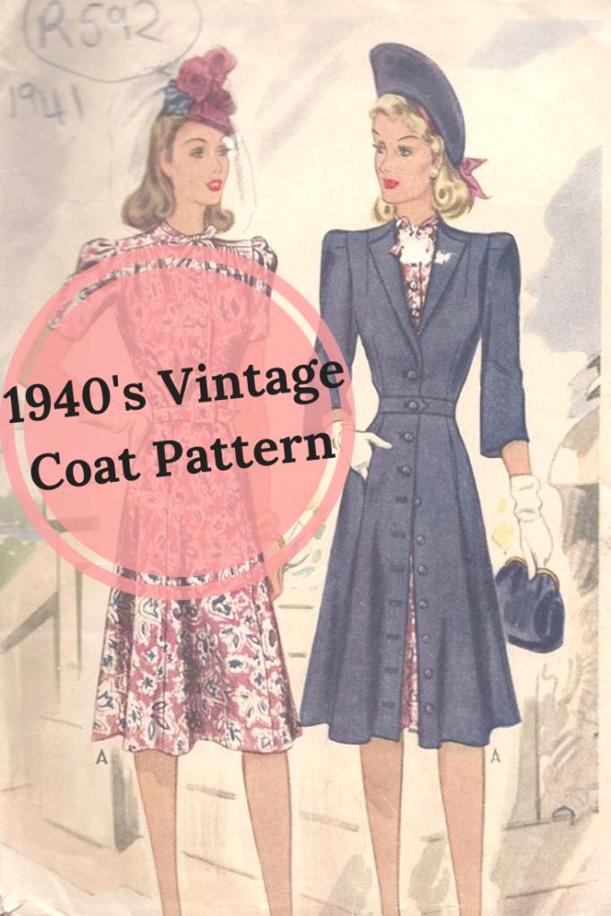 1940's Vintage Coat Pattern